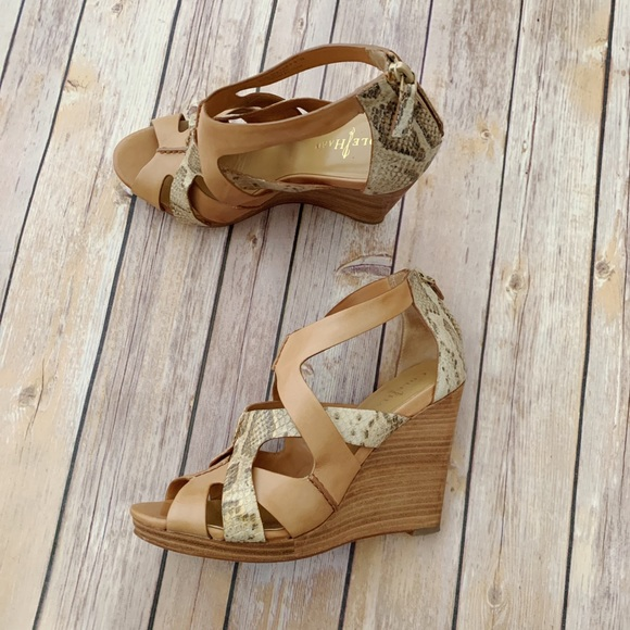 2e9125bad25 Cole Haan   Snake leather Wedges sandals